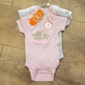 Wonder Nation Onesie Bodysuits 3 pk Pink {Newborn}